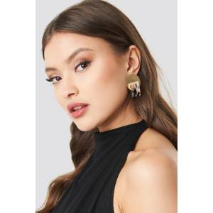 NA-KD Accessories Metal Plate Tortoise Earstuds - Nude,Gold