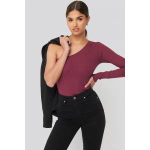 NA-KD One Shoulder Babylock Ribbed Top - Red