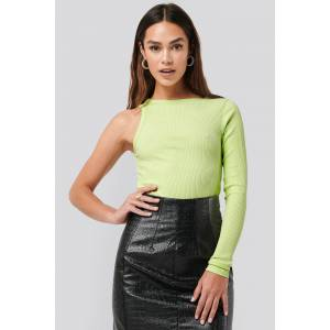 NA-KD Trend One Sleeve Ribbed Top - Green