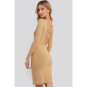 NA-KD Party Open Back Ribbed Mini Dress - Beige