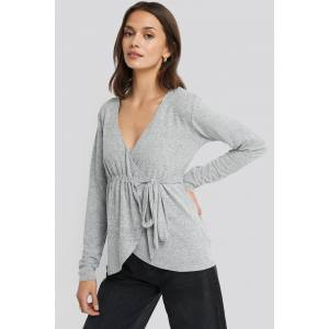 NA-KD Overlap Light Knitted Sweater - Grey
