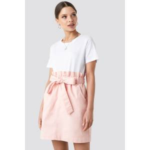 NA-KD Paper Bag Waist Denim Mini Skirt - Pink