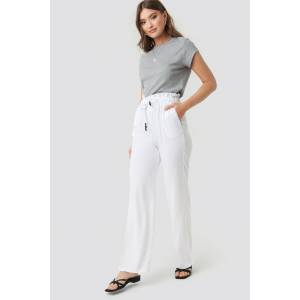NA-KD Paperbag Wide Leg Trousers - White