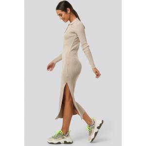 NA-KD Polo Collar Knit Maxi Dress - Beige