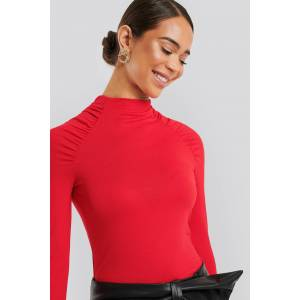 NA-KD Raglan Ruched Sleeve Top - Red