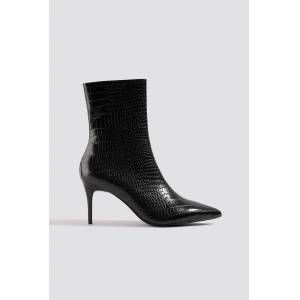 NA-KD Shoes Reptile Pointy Boots - Black