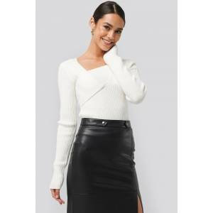 NA-KD Trend Ribbed Asymmetric Sweater - White