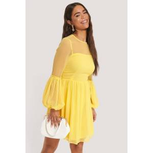 NA-KD Party Ruffle Detail Mini Dress - Yellow