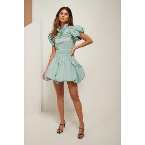 ART Ruffle Neck Mini Dress - Blue