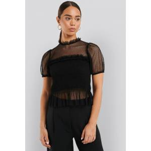 NA-KD Short Sleeve Lace Blouse - Black