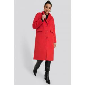 NA-KD Single Breasted Lapel Coat - Red