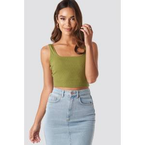 NA-KD Square Neck Crop Top - Green