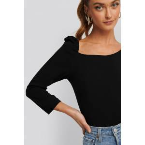 NA-KD Trend Square Neck Puffy Sleeve Top - Black