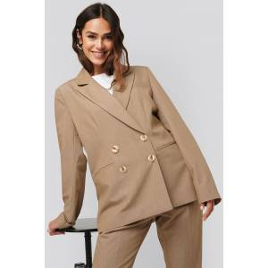 NA-KD Classic Straight Fit Double Breasted Blazer - Beige