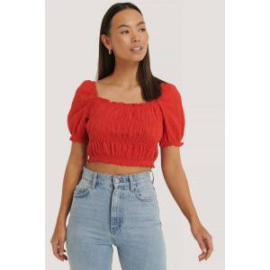 NA-KD Boho Structured Anglaise Crop Top - Red