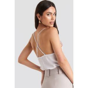 NA-KD Party Thin Strap Woven Cross Back Singlet - White