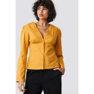 NA-KD Trend V-Neck Buttoned Front LS Top - Yellow