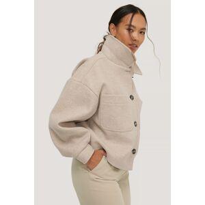 NA-KD Wool Blend Oversized Short Jacket - Beige