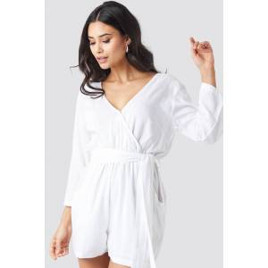 NA-KD Wrap Playsuit - White