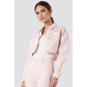 Trendyol Striped Denim Jacket - Pink