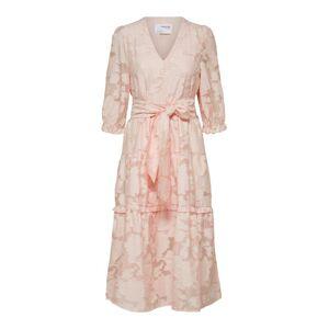SELECTED Knytskärpsförsedd - Midiklänning Kvinna Rosa 40 Female  Blushing Bride