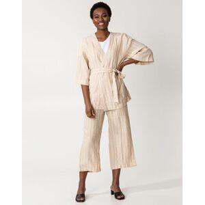 Indiska Randig kimono i linne S/M  Beige