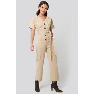 NA-KD Belted Button Up Jumpsuit - Beige