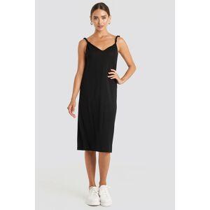 NA-KD Cupro V-Neck Midi Dress - Black