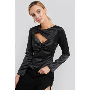 NA-KD Trend Cut Out Satin Long Sleeve Top - Black