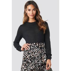 NA-KD Trend Sheer Round Neck Knitted Top - Black