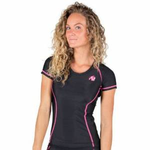 Gorilla Wear Carlin Compression Short Sleeve Top, Black & Pink, S