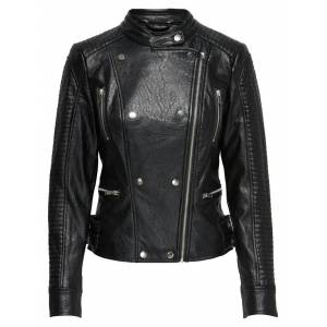 ONLY Nette Faux Leather Biker Jacket Black Skinn Jacka