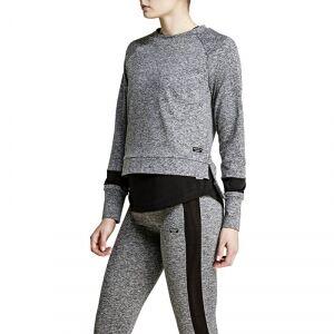 Björn Borg Calista Long Sleeve Sweatshirt, new black melange, 34 Longsleeve dam