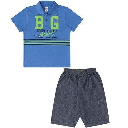 Conjunto Infantil Camisa Polo e Bermuda Boca Grande Masculino - Masculino