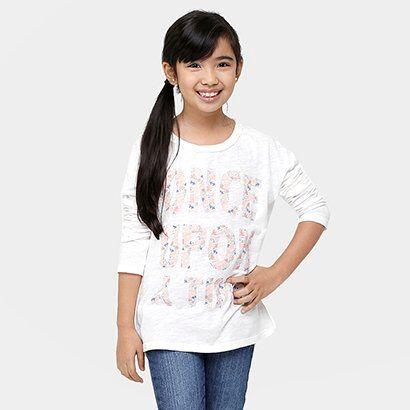 Camiseta Benetton Estampada Infantil - Feminino-Off White