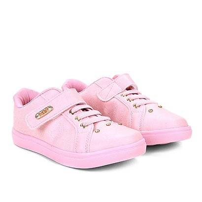 Tênis Infantil Klin Baby Gloss Street Feminino - Feminino-Rosa