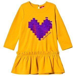 Agatha Ruiz de la Prada Mustard Yellow Purple Pixel Heart Dress 2 years