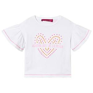 Agatha Ruiz de la Prada White Frill Spotted Heart T-shirt 3 years