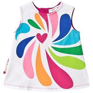 Agatha Ruiz de la Prada White and Pink Multi Heart Pattern Dress 9 months