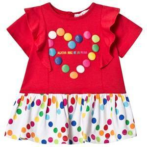 Agatha Ruiz de la Prada Red and White Multi Spot Heart Dress 9 months