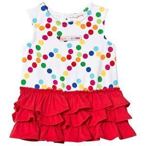 Agatha Ruiz de la Prada White Multi Spot and Red Ruffle Skirt Dress 6 months