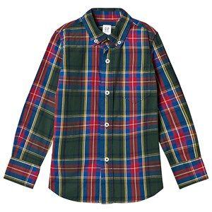 GAP Poplin Plaid Long Sleeve Shirt Deep Hunter M (8-9 Years)