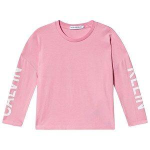 Calvin Klein Jeans Logo Long Sleeve Tee Begonia Pink 14 years