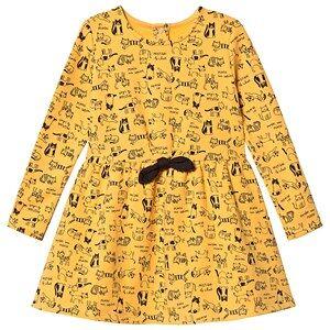 Absorba Cat Print Long Sleeve Dress Yellow 6 months