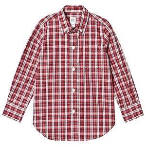 GAP Poplin Plaid Shirt Red XS (4-5 Years)
