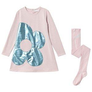 Agatha Ruiz de la Prada Flower Applique Glitter Dress and Tights Set Pink 12 months