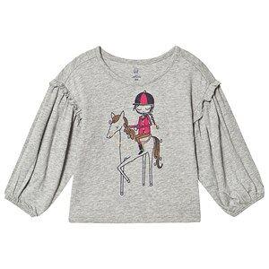 GAP Ruffle-Sleeve Graphic T-Shirt Grey 2 Years