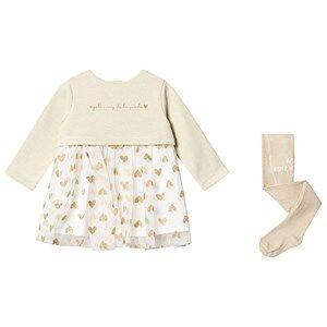 Agatha Ruiz de la Prada Glitter Dress and Tights Set Cream 12 months