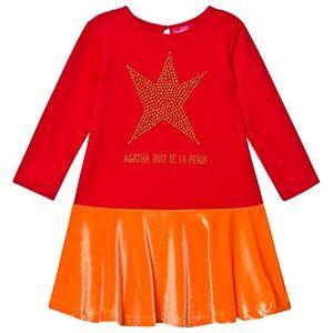 Agatha Ruiz de la Prada Red Studded Star Velvet Peplum Dress 2 years