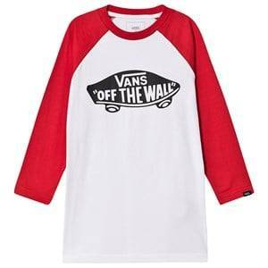 Vans Logo Long Sleeve Tee White and Red S (8-10 years)